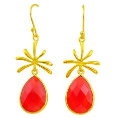 14.73cts natural honey onyx handmade 14k gold dangle earrings jewelry t16381