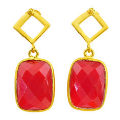 12.52cts natural honey onyx handmade 14k gold dangle earrings jewelry t16382