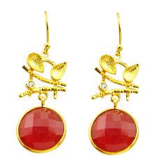 13.85cts natural honey onyx topaz 925 silver 14k gold dangle earrings d40365