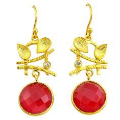 16.73cts natural honey onyx topaz handmade14k gold dangle earrings t16407
