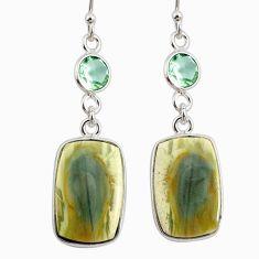 14.30cts natural imperial jasper amethyst 925 silver dangle earrings r75777