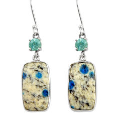 Clearance Sale- 15.90cts natural k2 blue (azurite in quartz) 925 silver dangle earrings d39519