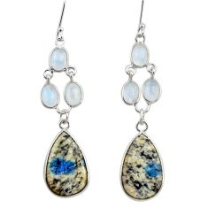 22.14cts natural k2 blue (azurite in quartz) 925 silver dangle earrings d39703