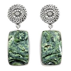 Clearance Sale- 23.13cts natural kambaba jasper (stromatolites) silver dangle earrings d39658
