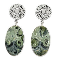 Clearance Sale- 22.09cts natural kambaba jasper (stromatolites) silver dangle earrings d39660