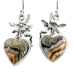 17.88cts natural laguna lace agate 925 silver angel wings fairy earrings r45255
