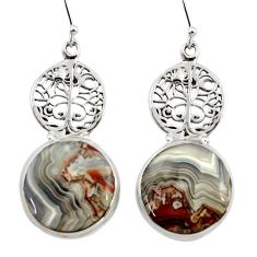 26.34cts natural laguna lace agate 925 silver tree of life earrings r45257