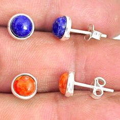 5.70cts natural lapis lazuli copper turquoise 925 silver stud earrings r81572