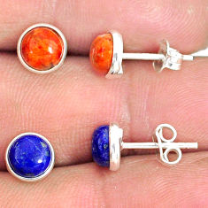 5.73cts natural lapis lazuli copper turquoise 925 silver stud earrings r81576