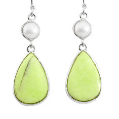 16.04cts natural lemon chrysoprase pearl 925 silver dangle earrings r75801