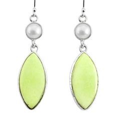 15.52cts natural lemon chrysoprase pearl 925 silver dangle earrings r75802