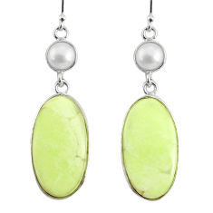 16.71cts natural lemon chrysoprase pearl 925 silver dangle earrings r75804