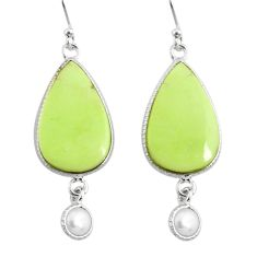 18.39cts natural lemon chrysoprase pearl 925 silver dangle earrings r75805