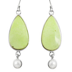 16.71cts natural lemon chrysoprase pearl 925 silver dangle earrings r75807