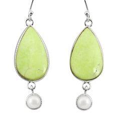 17.29cts natural lemon chrysoprase pearl 925 silver dangle earrings r75808