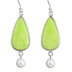 16.68cts natural lemon chrysoprase pearl 925 silver dangle earrings r75811
