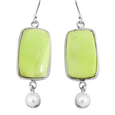 22.78cts natural lemon chrysoprase pearl 925 silver dangle earrings r75812