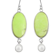 16.68cts natural lemon chrysoprase pearl 925 silver dangle earrings r75813