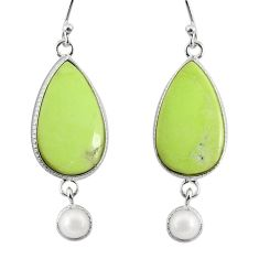 16.68cts natural lemon chrysoprase pearl 925 silver dangle earrings r75815