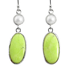 16.68cts natural lemon chrysoprase pearl 925 silver dangle earrings r75816