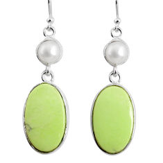 17.35cts natural lemon chrysoprase pearl 925 silver dangle earrings r75817