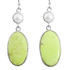 19.09cts natural lemon chrysoprase pearl 925 silver dangle earrings r75819