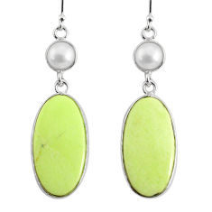 19.09cts natural lemon chrysoprase pearl 925 silver dangle earrings r75820