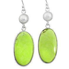 20.47cts natural lemon chrysoprase pearl 925 silver dangle earrings t14881