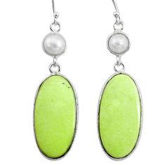 20.53cts natural lemon chrysoprase pearl 925 silver dangle earrings t14883
