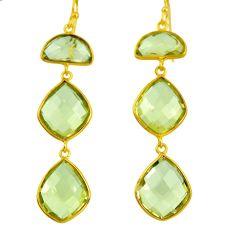 20.33cts natural lemon topaz 925 sterling silver 14k gold dangle earrings d40371