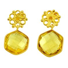 12.52cts natural lemon topaz 925 sterling silver 14k gold dangle earrings d40378