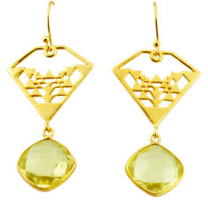 11.89cts natural lemon topaz 925 sterling silver 14k gold dangle earrings r31581