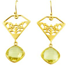 11.86cts natural lemon topaz 925 sterling silver 14k gold dangle earrings r31582