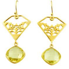 12.71cts natural lemon topaz 925 sterling silver 14k gold dangle earrings r31583