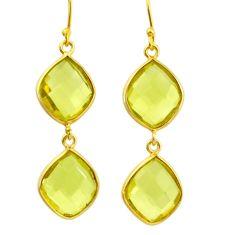 15.34cts natural lemon topaz 925 sterling silver 14k gold dangle earrings r31632