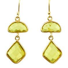 11.93cts natural lemon topaz 925 sterling silver 14k gold dangle earrings r31641