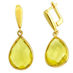 17.53cts natural lemon topaz 925 sterling silver 14k gold dangle earrings r31665