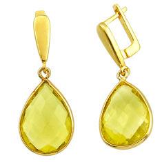 17.53cts natural lemon topaz 925 sterling silver 14k gold dangle earrings r31665