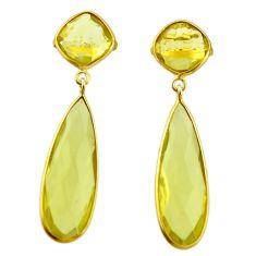 23.29cts natural lemon topaz 925 sterling silver 14k gold dangle earrings r31729