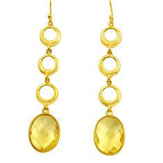 18.88cts natural lemon topaz 925 sterling silver 14k gold dangle earrings r31745