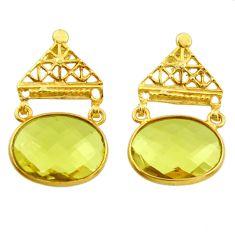 16.88cts natural lemon topaz 925 sterling silver 14k gold dangle earrings r31764