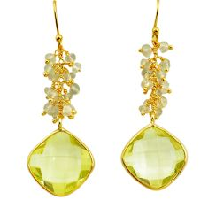 17.53cts natural lemon topaz 925 sterling silver 14k gold dangle earrings r38479