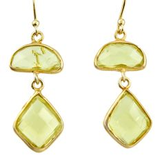 11.28cts natural lemon topaz 925 sterling silver 14k gold dangle earrings r38509