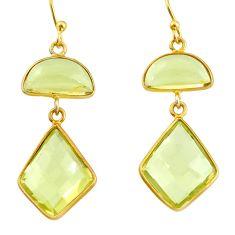 13.13cts natural lemon topaz 925 sterling silver 14k gold dangle earrings r38510