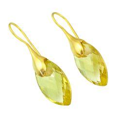 16.13cts natural lemon topaz 14k gold handmade dangle earrings t11353