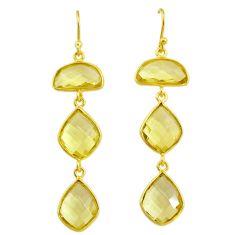 14.82cts natural lemon topaz 14k gold handmade dangle earrings t11388