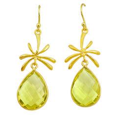 14.30cts natural lemon topaz 14k gold handmade dangle earrings t11414