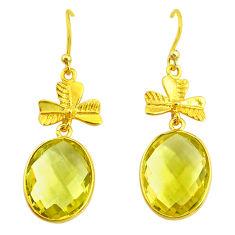 14.91cts natural lemon topaz 14k gold handmade dangle earrings t11428