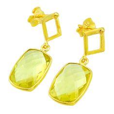9.72cts natural lemon topaz 14k gold handmade dangle earrings t11448