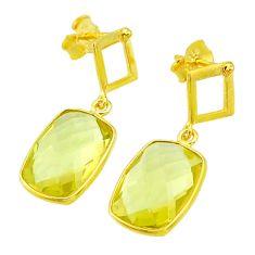 10.15cts natural lemon topaz 14k gold handmade dangle earrings t11450